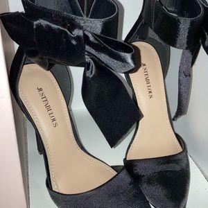 Satin bow heels